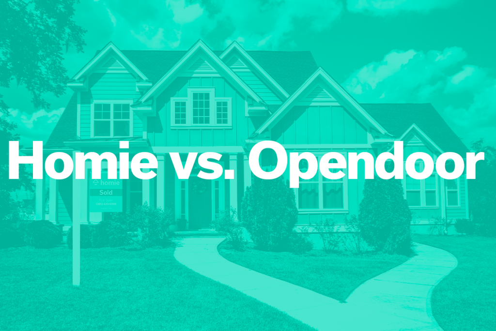 pic of a home for sale with teal overlay that says homie vs. opendoor